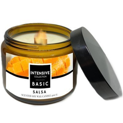 Intensive Collection Amber Basic large natural soy wax scented candle wooden wick 400 g - Salsa